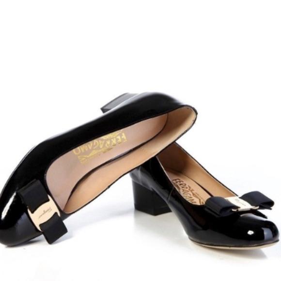 3b62eda86d Salvatore Ferragamo Shoes   Vara Patent Block Heel Flat   Poshmark